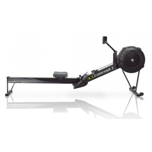 Concept 2 Black indoor rowing machine - side